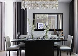 luxury crystal chandelier over black and white dining table set swarovski lighting vintage french