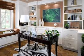 trendy home office design. Office, Example Of A Trendy Home Office Design In San Francisco With Beige Walls Dark E