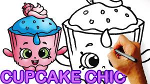 How To Draw Cupcake Chic Cookie Shopkins For Kids Youtube