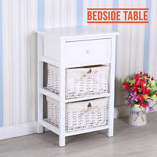 Brand New Shabby Chic Bedside Unit Table Cabinet With Wicker Storage White
