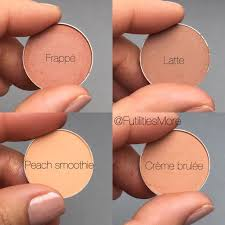 makeup geek brown eyeshadows swatches peach smoothie crème brulée frappé latte