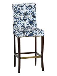 Patterned Bar Stools Fascinating Transitional Bar Stool With Bold Blue And White Patterned Fabric