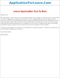 Leave Application Due To Heavy Rain