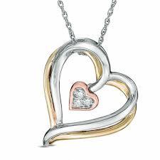 diamond accent tilted triple heart pendant in 10k tri tone gold