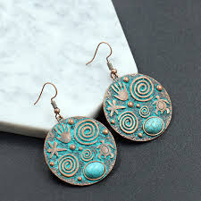 women turquoise alloy earrings lady fashion coin tassel turquoise earrings party high quality jewelry gifts support fba drop g967r