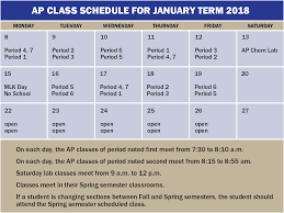 View Ap Class Schedule For January 2018 University High School