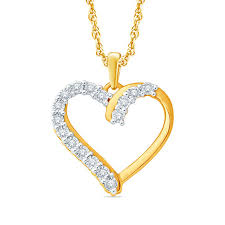 diamond accent heart pendant in sterling silver and 14k gold plate