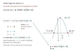 notes page 57a section 5 1 vertex intercept forms of a quadratic function