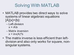 matlab systems of equations matrix jennarocca