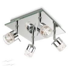 firstlight 6097ch ocean 4 light ceiling spotlight in chrome and mirror glass ip44 rated
