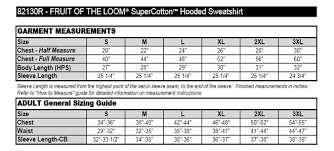 Fruit And Loom Size Chart Fruit Of The Loom Super Cotton Hooded Sweatshirt 82130r