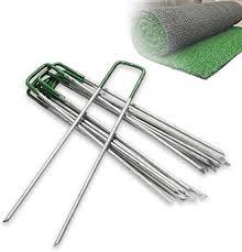<b>50x</b> 6'' Garden Turf U <b>Pins</b> Metal Galvanised Pegs Staples Weed ...