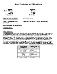 Woodcock Johnson Iv Template Worksheets Teaching Resources
