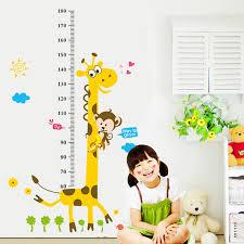 kids height chart wall sticker home decor cartoon giraffe height