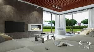 wall mounted fireplace afire ethanol