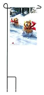 golden retriever garden flag evergreen dashing through snow dog pet