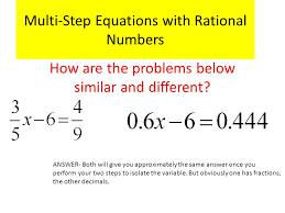 1 multi step equations with rational numbers how