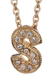 image of nadri 18k yellow gold plated pave s initial pendant necklace