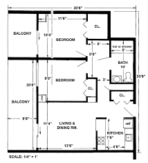 Two-bedroom apartment layout