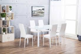roma rectangle white glass dining table and 6 white montero chairs set