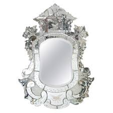 vintage venetian ornately carved etched wall mirror for