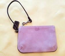 NWOT Coach Purple Suede Wristlet Mini-Purse Handbag with Patent Strap NEW