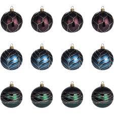 12 Stück Weihnachtskugeln ø6cm 3 Sorten Grün Blau Und Rot
