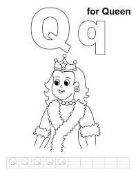 coloring books q for queen coloring page with handwriting practice