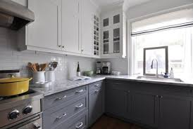 Gray And White Kitchen Cabinets Modern And Minimalist Design L Shape Gray  Cabinets With Gray Granite Completed With White Cabinets On Wall