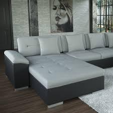 Sofa Polsterecke Galera Schwarz Strukturstoff Grau Ecksofa Von Jalano Wohnlandschaft U Form Couch Garnitur Mit Kissen
