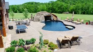 inground pools with waterfalls and slides. Winning Inground Swimming Pool With Shotcrete Concere Also Alazing Cozy Lounge Chairs Interesting Small Tennis Pools Waterfalls And Slides W