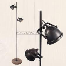 Verstelbare Vloerlamp Industriële Look 2 Lichts Hout Gun Metal Zwart