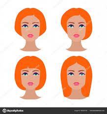 Roztomilé Krásné Mladé Dívky Tvář Různými účesy Ginger ženy Sada