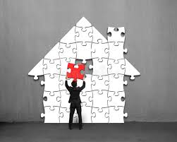 download putting red puzzle into house shape on wall stock illustration illustration of corporate  on puzzle into wall art with putting red puzzle into house shape on wall stock illustration