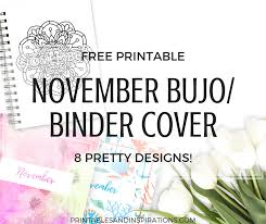 Binder Cover Page November Bullet Journal Cover Page Printable Printables