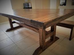 Trestle table with bench Walnut New Frame Trestle Farmers Table Distressed In Espresso With Matching Bench Black Creek Mercantile View Our Gallery Lots Of Rustic Farm Tables Jesus Tables