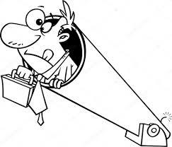 Vector Van Een Cartoon Zakenman Zijn Werkmap Te Houden En Voorbereid