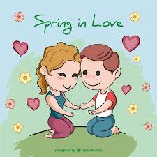 Cute Cartoon Couple In Love Vector Free Download