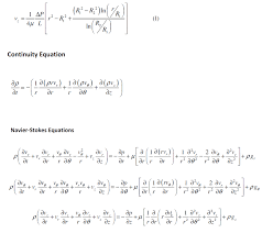 the continuity and navier stokes equations for cylindrical coordinates are r 2 r 2 ln l ap 44l l ln continuity equation ot