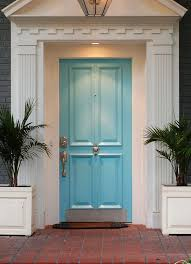 front door colors for blue gray house. sky blue front door colors gold pull outdoor floral pot. #doors # entrance for gray house