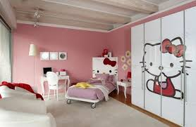 modern hello kitty themed bedroom ideas with white wardrobe and pink wall paint colors
