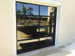 black frames grey glass garage door