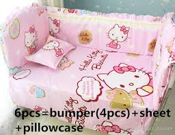 C Hello Kitty Bedding Set Handmade Baby Girl And Boy Crib Sets  BumpersSheetPillow Cover Toddler For Boys Little Girls