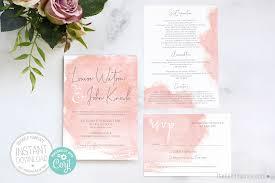 Wedding Invitation Downloads Pink Watercolour Wedding Invitation Printable Editable Template