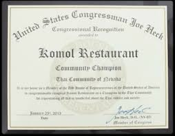 awards and articles for komol thai restaurant over the years 2013 awards congressional award
