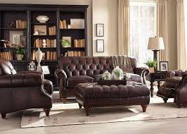 Button Couch Brown Top Grain Button Tufted Leather Sofa