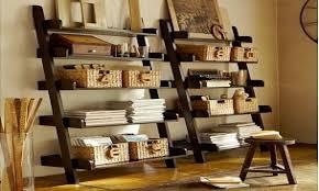 Pottery Barn Wall Shelves Dark Espresso Brown Leaning Bookcase Bookshelf Pottery Barn