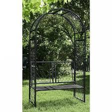 panacea lattice arch with bench black metal garden arches webbs garden centre