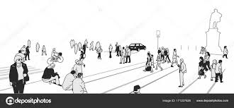 Stylized Illustration Of People Walking On The Street In Perspective