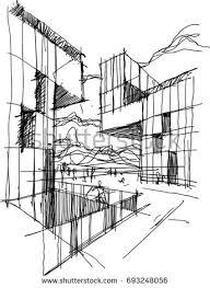 modern architecture sketch. Perfect Sketch Hand Drawn Architectural Sketch Of A Modern Abstract Architecture With  People Around In Modern Architecture Sketch